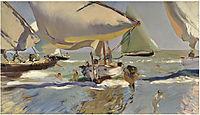 Boats on the beach, 1909, sorolla