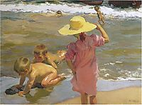 Children on the seashore, sorolla
