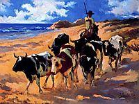 Oxen at the Beach, 1916, sorolla