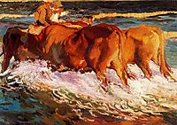 "Oxen in the sea, study for ""Sun of afternoon"", sorolla"