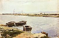 Three Boats By A Shore, 1899, sorolla