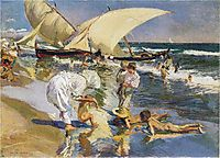 Valencia beach in the morning light, 1908, sorolla