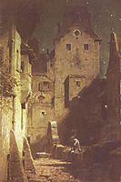 The night watchman has fallen asleep, c.1875, spitzweg