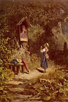 Praying peasant girl in the woods, c.1855, spitzweg