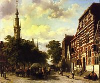 A Busy Market in Veere with the Clocktower of the Town Hall Beyond, 1857, springer