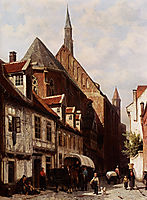 A Busy Street In Bremen With The Saint Johann Church In The Background, 1864, springer