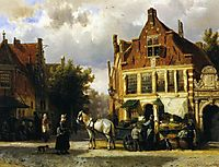 The Corner of Westerstraat and Tabakstraat in Enkhuizen, 1873, springer