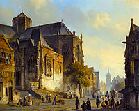 Figures on a Market Square in a Dutch Town, 1843, springer