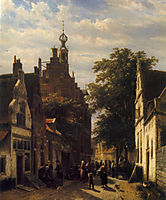 Figures in a Street in Delft, 1853, springer