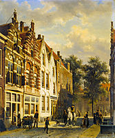 Figures in the Sunlit Streets of a Dutch Town, 1889, springer