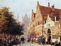 Kerkegracht en Weeshuis in Leiden, springer