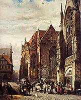 Many Figures On The Market Square In Front Of The Martinikirche, Braunschweig, 1874, springer