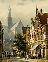 Many figures in the streets of Haarlem, 1870, springer
