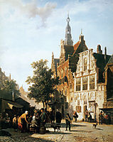 Marketview with cityhall Woerden, springer