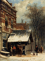 The Smithy of Culemborg in the Winter, 1860, springer