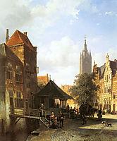 Springer Cornelis Figures In A Street In Delft, springer