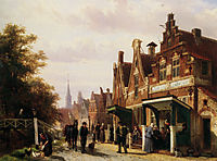 Street scene with figures, 1871, springer
