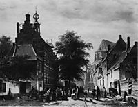 The Town Hall and Market at Naarden, 1864, springer