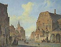View of the old town hall in Arnhem, with fantasy elements, 1840, springer
