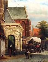A View Of The South Entrance Of The St. Pancras Church, Enkhuizen, 1869, springer
