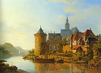 A View of a Town along the Rhine, 1841, springer