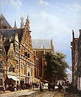 Vleeschhal and Grote Kerk in Haarlem, springer