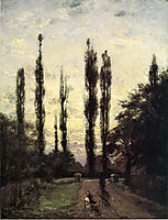 Evening, Poplars, 1885, steele