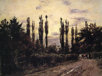Evening Poplars and Roadway near Schleissheim, 1884, steele