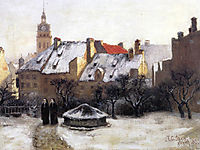 Winter Afternoon Old Munich, 1883, steele