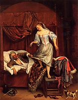 Couple in a Bedroom, 1670, steen