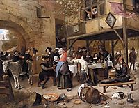 Feast of the Chamber of Rhetoricians near a Town Gate, steen