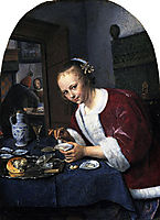 Girl eating oysters, 1660, steen
