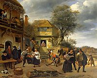 Peasants before an Inn, 1653, steen