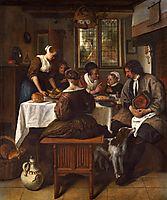 Prayer before Meal, 1665, steen
