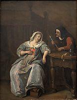 Sick woman, 1670, steen