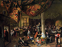 A Village Wedding Feast with Revellers and a dancing Party, steen
