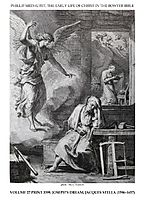Early life of Christ in the Bowyer Bible print 9 of 21. dream of Saint Joseph, stella