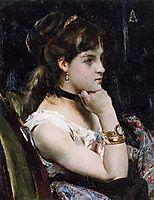 Woman Wearing a Bracelet, stevens