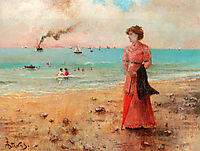 Young woman with the red umbrella by the sea, c.1885, stevens