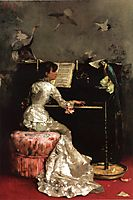 Young Woman at Piano, 1878, stewart