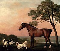 A Bay Hunter With Two Spaniels, 1777, stubbs