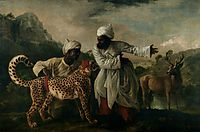 Cheetah with two Indian servants and a deer, 1765, stubbs