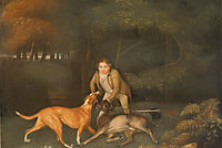 Freeman, the Earl of Clarendon-s Gamekeeper, With a Dying Doe and Hound, 1800, stubbs