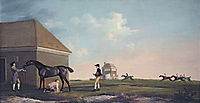 Gimcrack on Newmarket Heath, with a Trainer, a Stable lad,  and a Jockey, 1765, stubbs