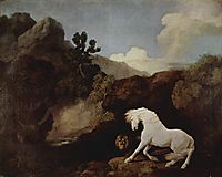 A Horse Frightened by a Lion, 1770, stubbs
