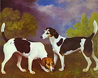 Hound and Bitch in a Landscape, 1792, stubbs