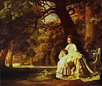 Lady Reading in a Wooded Park, 1770, stubbs