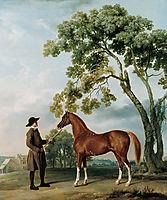 Lord Grosvenor-s Arabian Stallion with a Groom, c.1765, stubbs