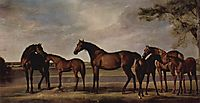 Mares and foals are anxious before a looming storm, 1765, stubbs
