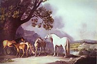 Mares and Foals in a Mountainous Landscape, 1769, stubbs